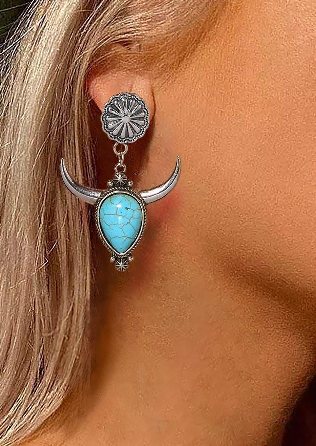 Turquoise SteerSkull Sunflower Earrings