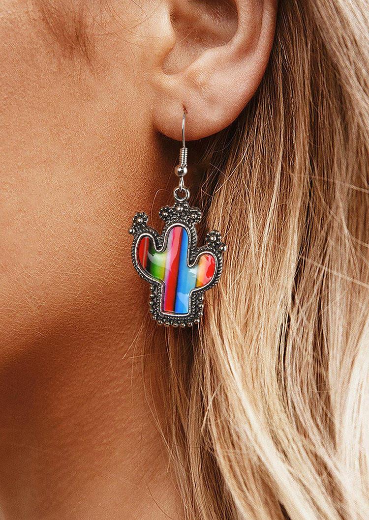 Cactus Striped Color Block Western Earrings