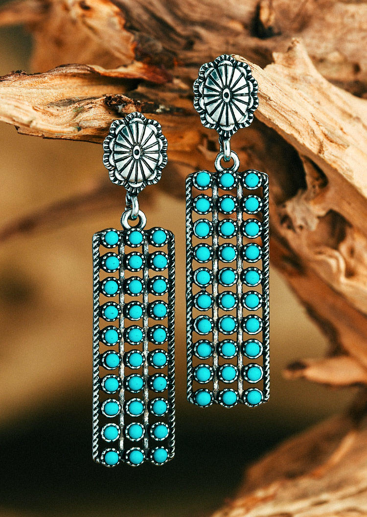 Turquoise Geometric Floral Alloy Stud Earrings