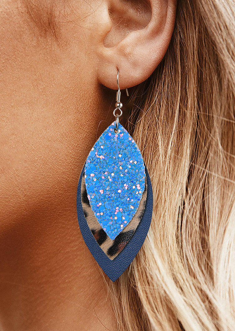 Leaf Sequined Leopard Leather Earrings
