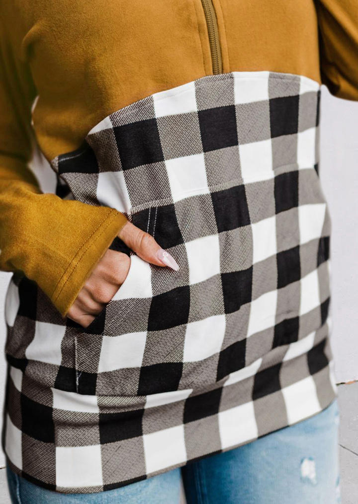 Plaid Kangaroo Pocket Zipper Collar Pullover Hoodie