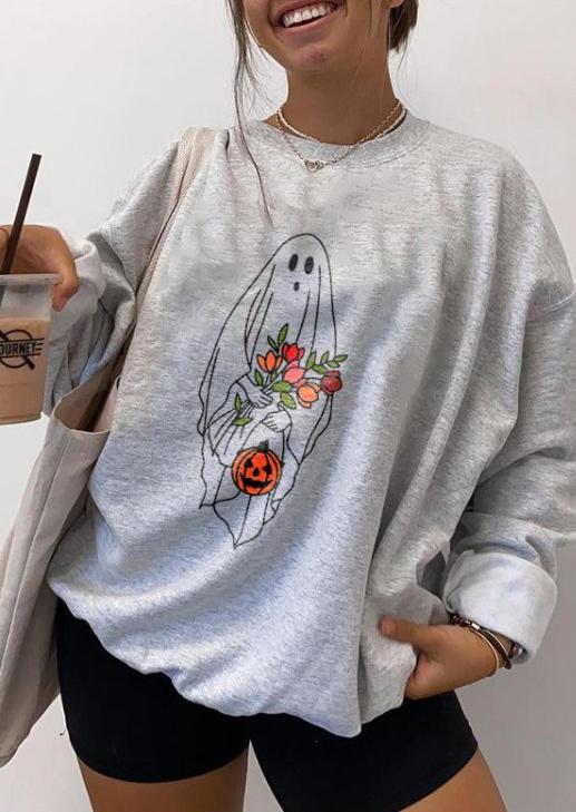 Halloween Pumpkin Ghost Floral Sweatshirt - Black
