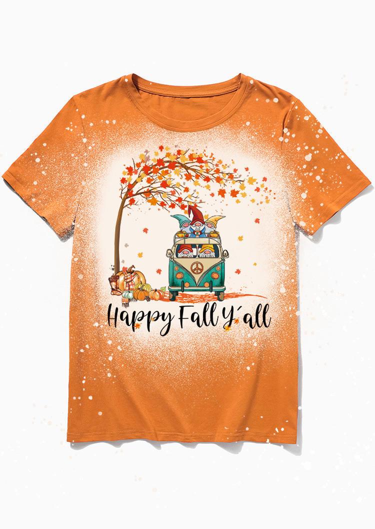 Happy Fall Y'all Gnomies Pumpkin  Bleached T-ShirtTee - Orange