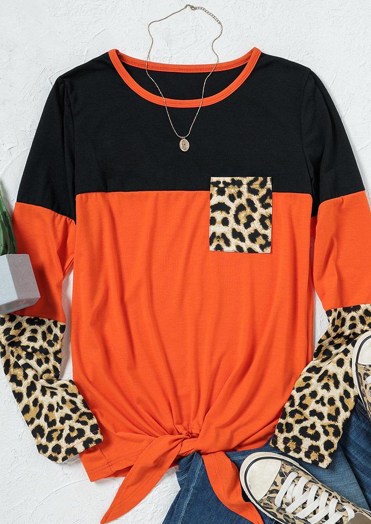 Leopard Color Block Splicing Pocket Tie Blouse - Orange