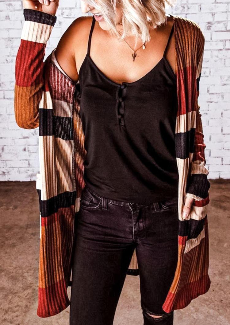 Pocket Striped Color Block Cardigan