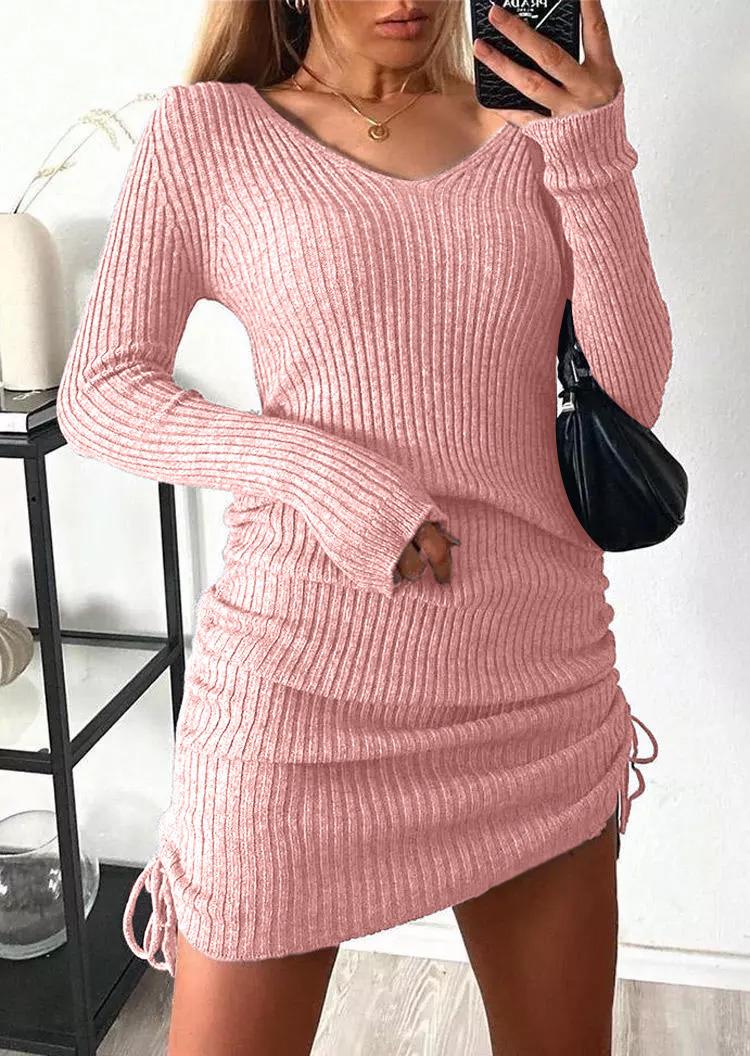 Ruched Drawstring LongSleeve Sweater Mini Dress - Pink