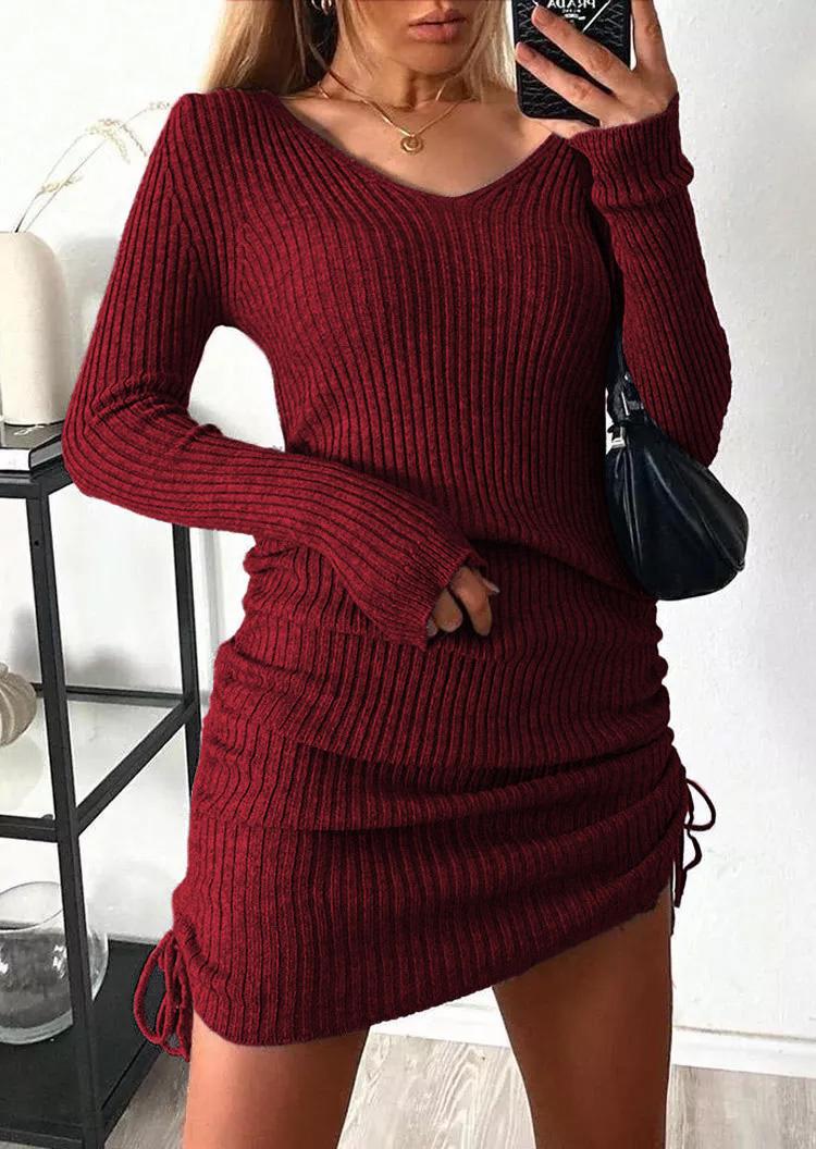 Ruched Drawstring LongSleeve Sweater Mini Dress - Burgundy