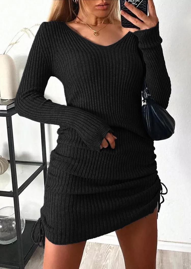 Ruched Drawstring LongSleeve Sweater Mini Dress - Black