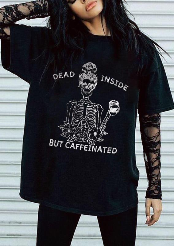 Halloween Dead Inside Skeleton T-ShirtTee - Black