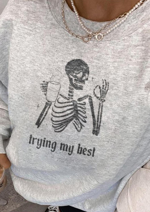 Trying My Best Skull Sweatshirt - Light Grey