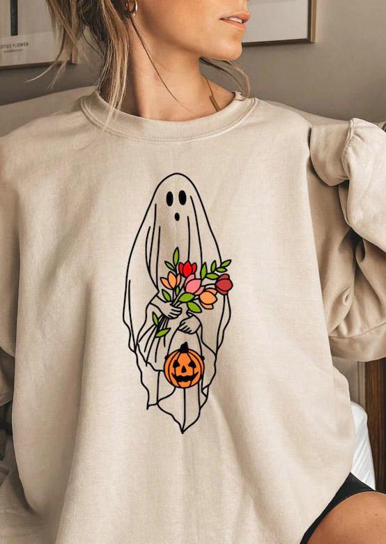 Halloween Pumpkin Ghost Floral Sweatshirt - Light Grey
