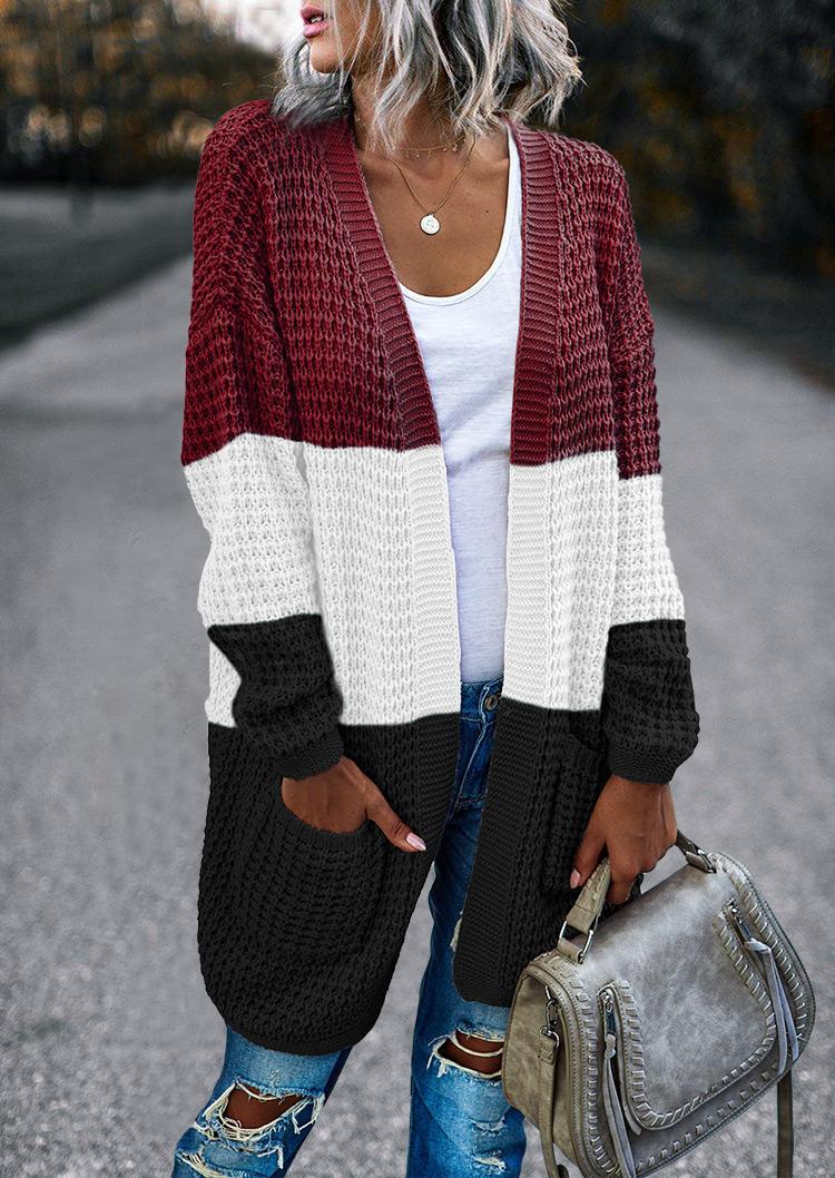 Cardigans Color Block Pocket Sweater Cardigan in Multicolor. Size: ,M,L,XL