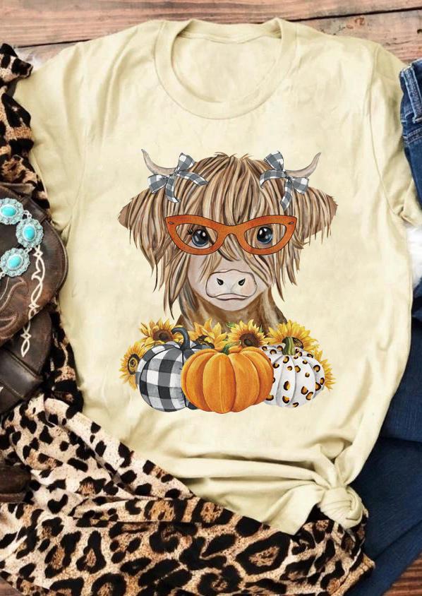 Plaid Pumpkin Steer Skull Sunflower T-Shirt Tee - Light Yellow