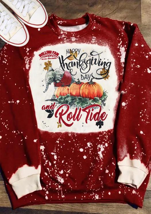 Happy Thanksgiving And Roll Tide Pumpkin Sweatshirt - Burgundy