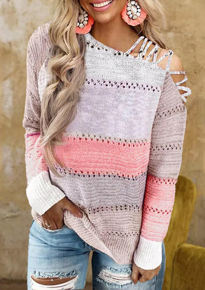 Color Block Criss-Cross Hollow Out Sweater