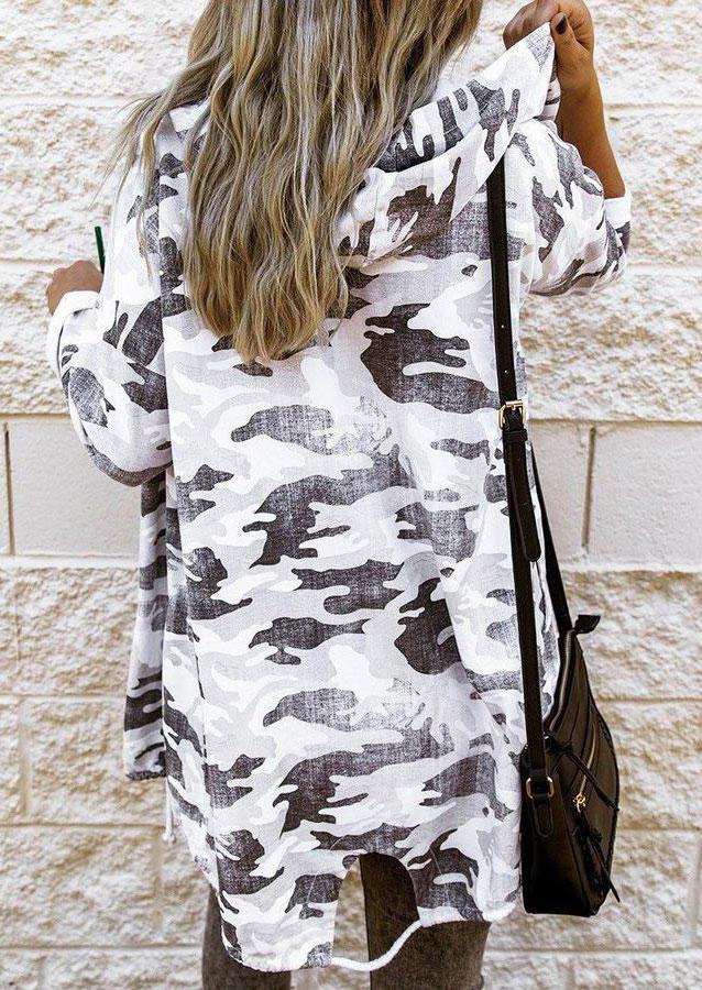 Camouflage Drawstring Hooded LongSleeve Coat