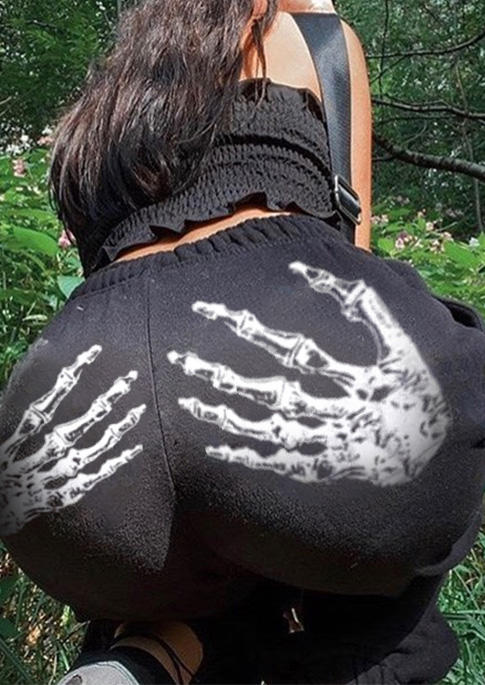 Halloween Skeleton Hand Sweatpants - Black