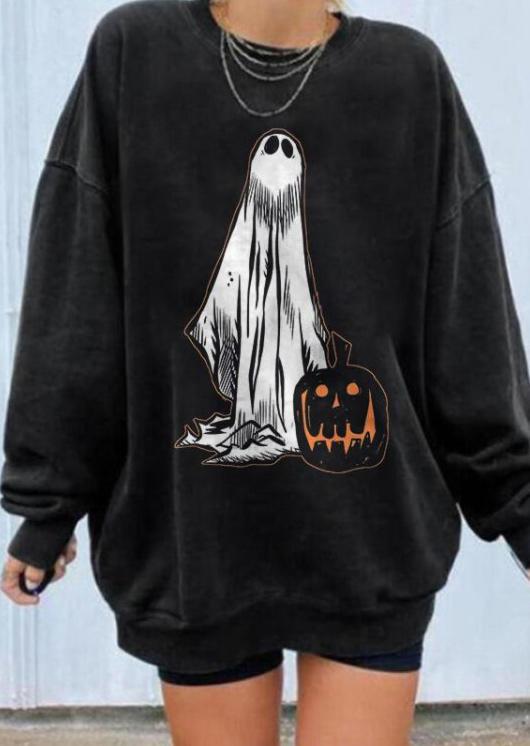 Halloween Pumpkin Face Ghost Sweatshirt - Black