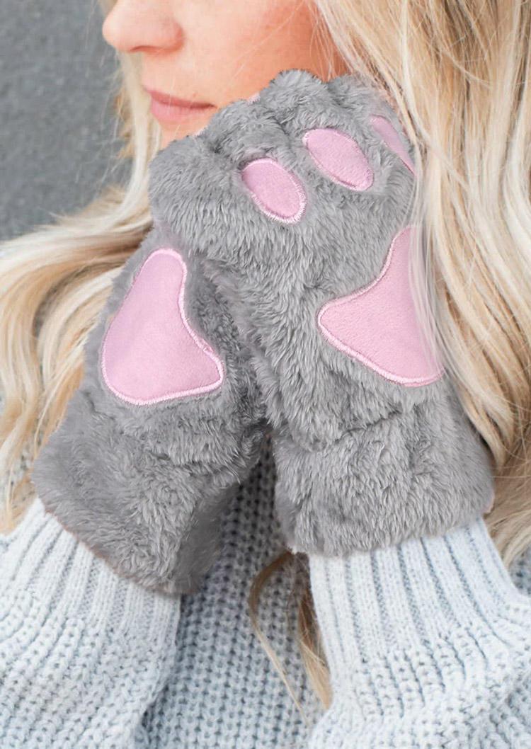 Cat Paw Plush Warm Fingerless Gloves