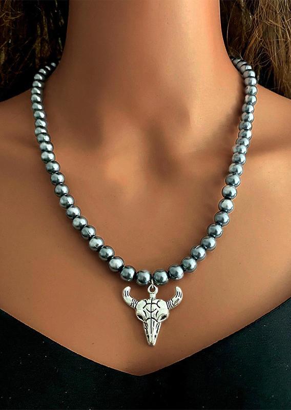 Turquoise Cross Steer Skull Beading Necklace