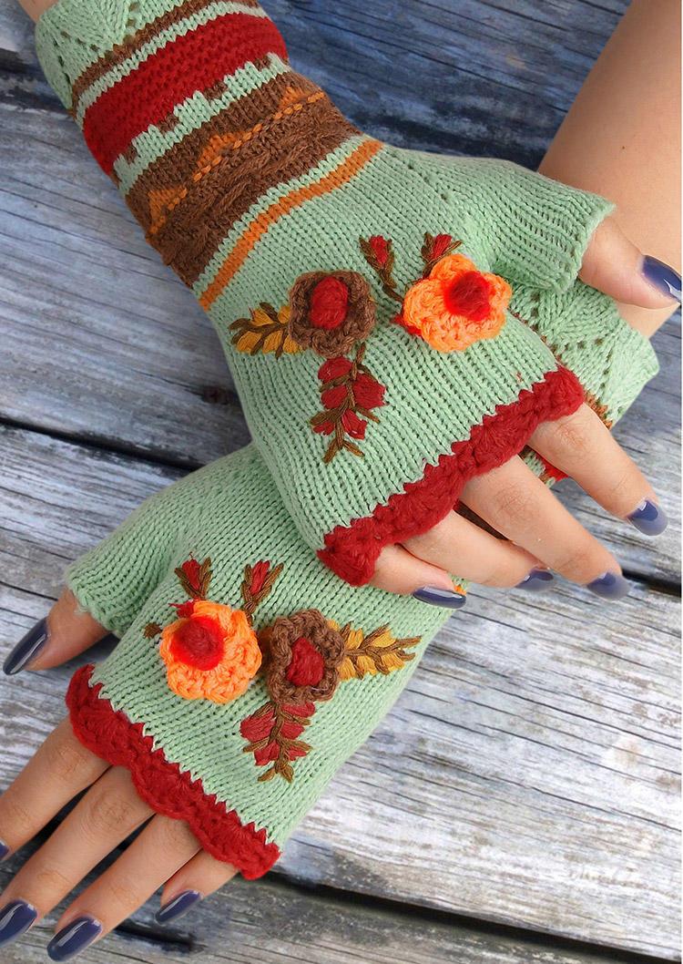 Vintage Ethnic Style Floral Fingerless Gloves