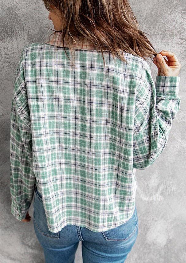 Plaid Pocket Button Splicing LongSleeve Shirt