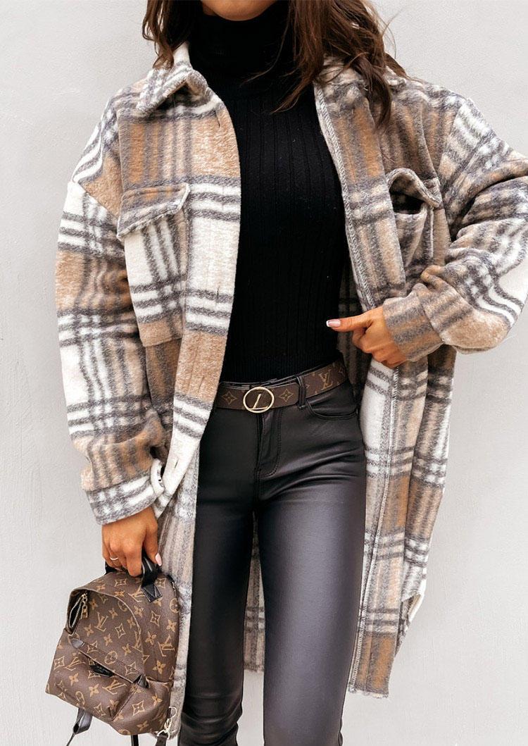 Plaid Pocket Button Turn-down Collar Coat - Khaki