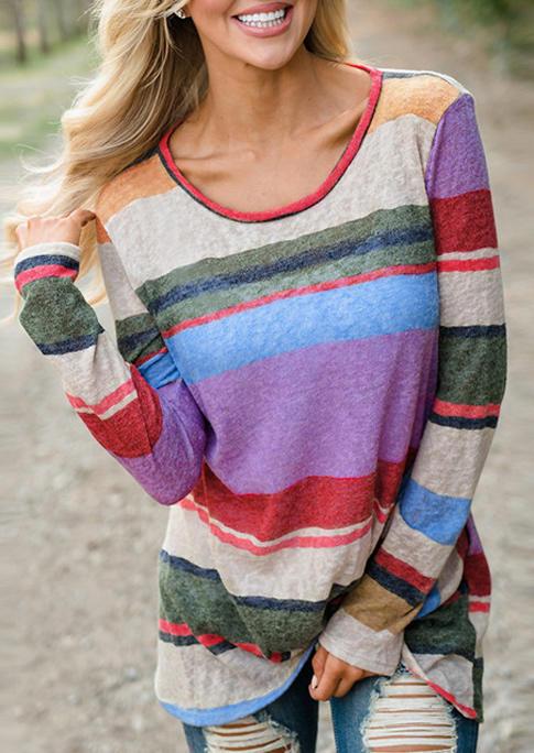Color Block Striped Twist LongSleeve Blouse