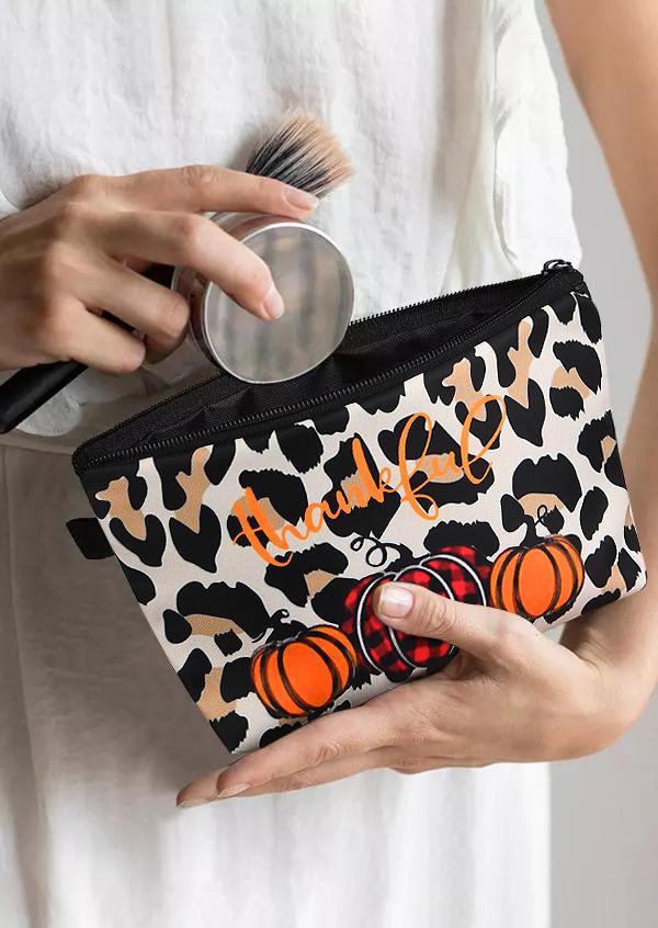 Thankful Leopard Pumpkin Storage Bag