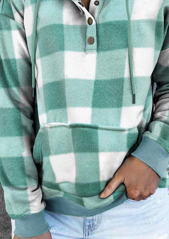 Plaid Drawstring Pocket Hoodie - Green