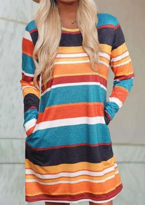 Color Block Striped Pocket Mini Dress