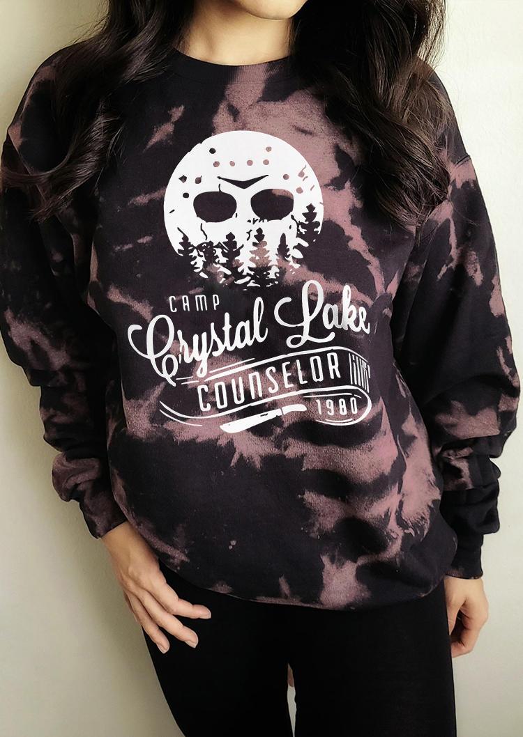 Camp Crystal Lake Counselor Tie Dye Sweatshirt - Black