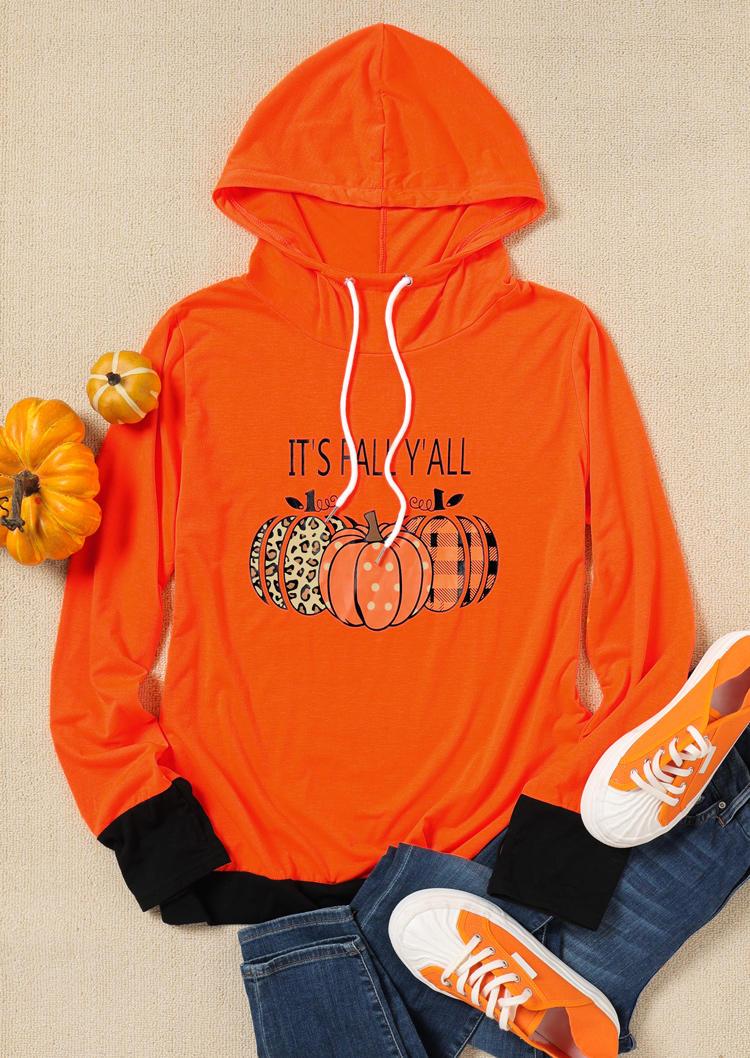 It's Fall Y'all Pumpkin Plaid Leopard Hooded Blouse - Orange