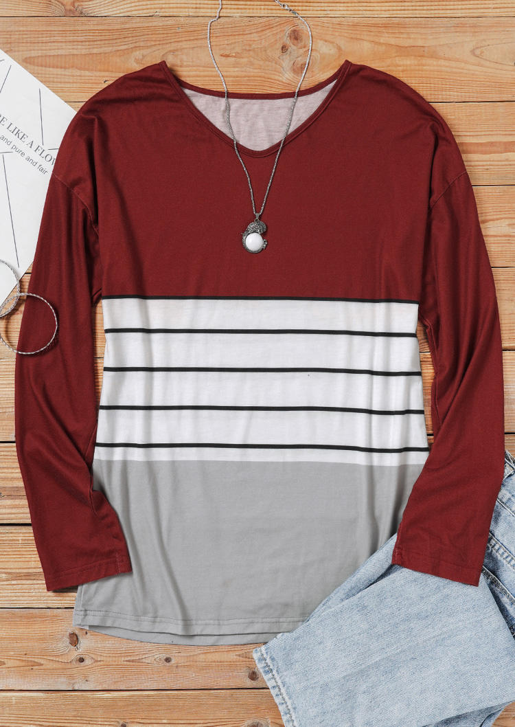 Color Block Striped Long Sleeve Blouse - Burgundy