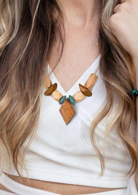 Geometric Chic Wooden Pendant Necklace