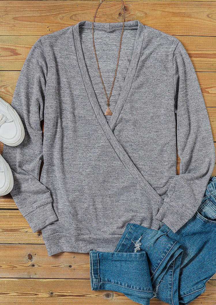 Wrap V-Neck Long Sleeve Sweater - Gray