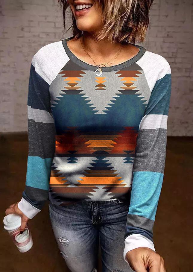 Aztec Geometric Color Block Raglan Sleeve Blouse