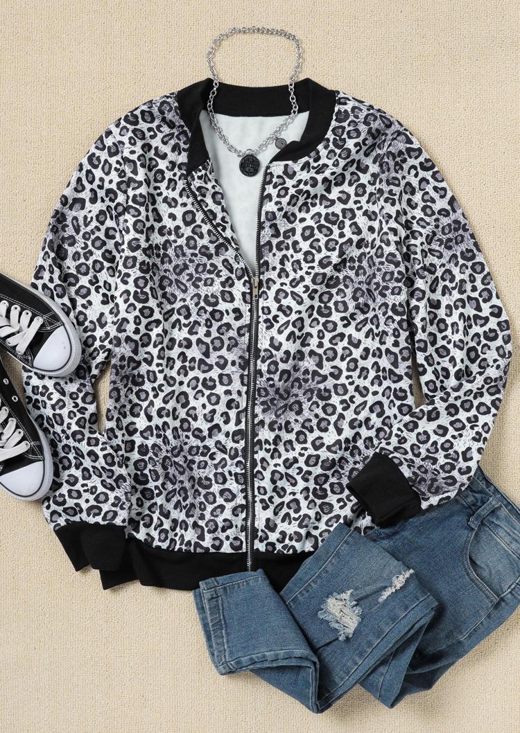 Leopard Zipper LongSleeve Jacket
