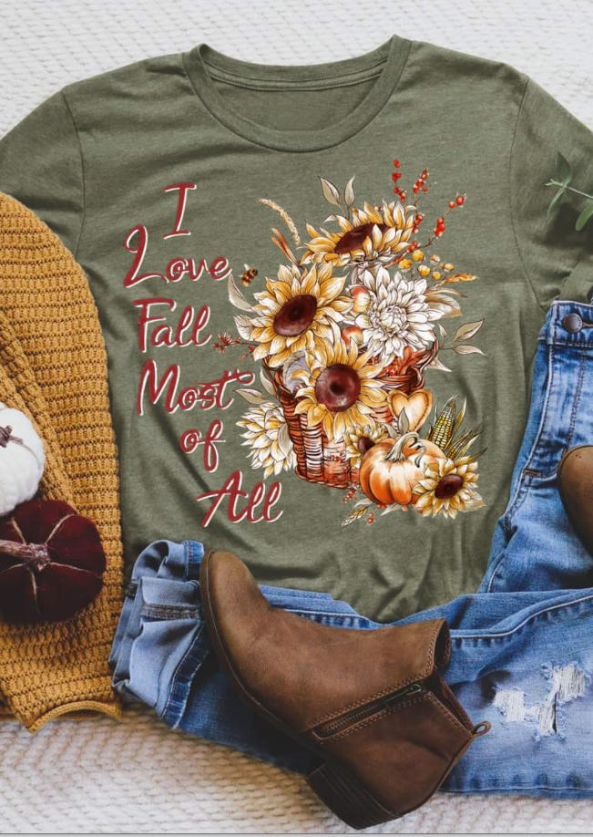 I Love Fall Most Of All Sunflower Pumpkin T-Shirt Tee - Army Green
