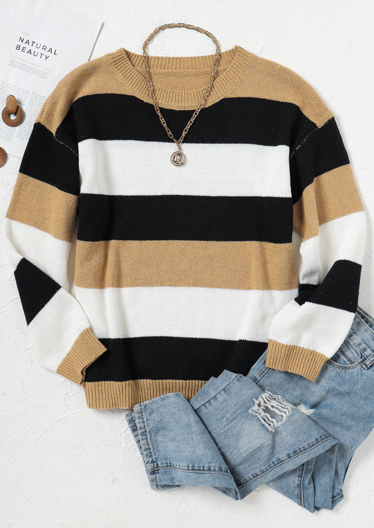 Striped Color Block O-Neck Sweater