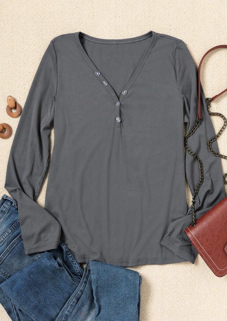Button V-Neck LongSleeve Blouse - Gray