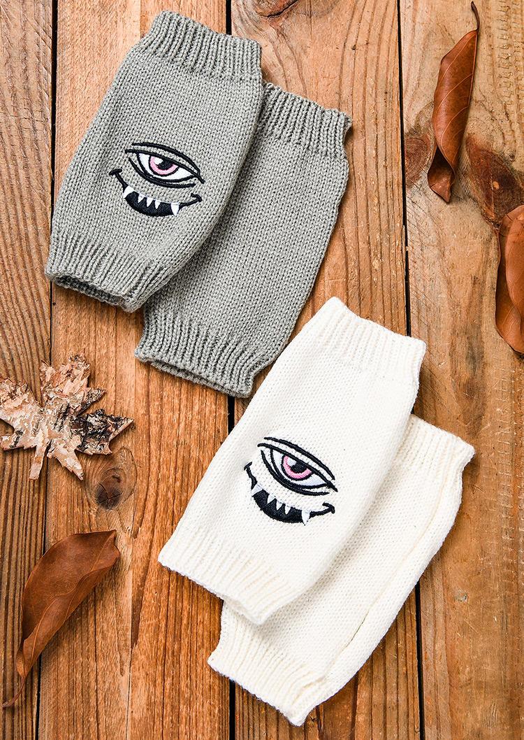 Eye Demon Embroidered Knitted Warm Fingerless Gloves