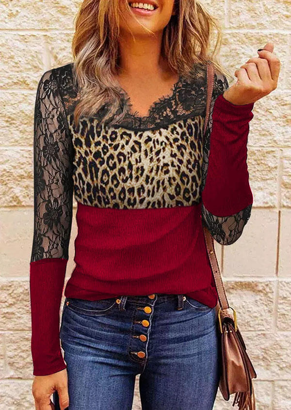 Lace Leopard Splicing Long Sleeve Blouse
