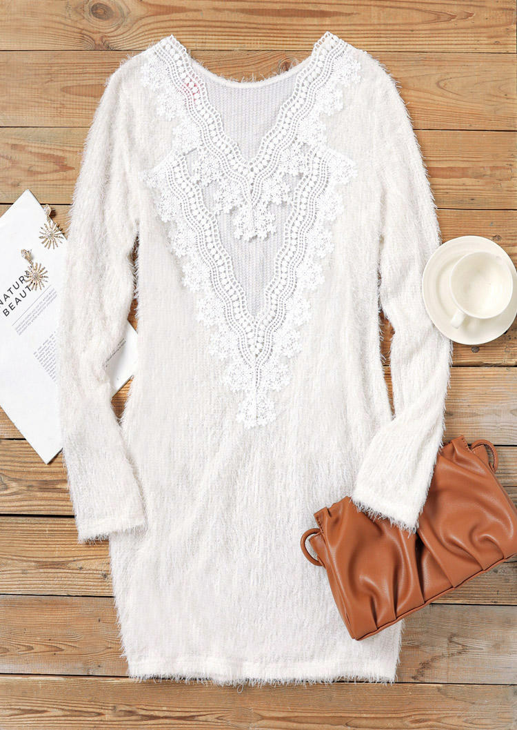 Fuzzy Hollow Out Lace Splicing Mini Dress - White