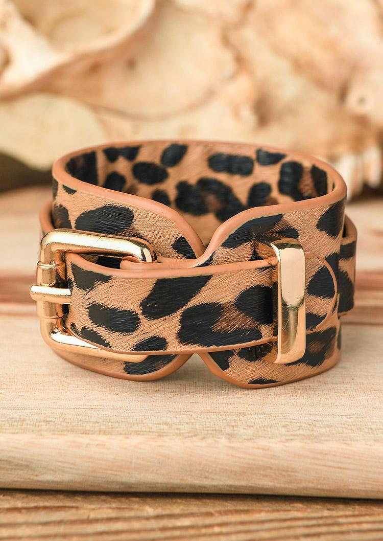 Leopard Buckle Wide Leather Bracelet