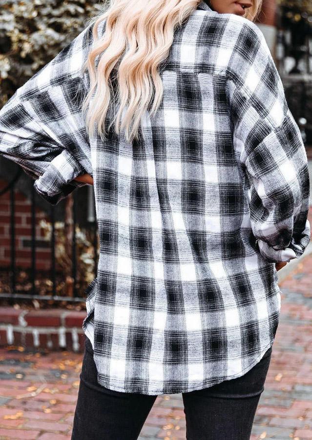 Plaid Button Pocket Long Sleeve Shirt
