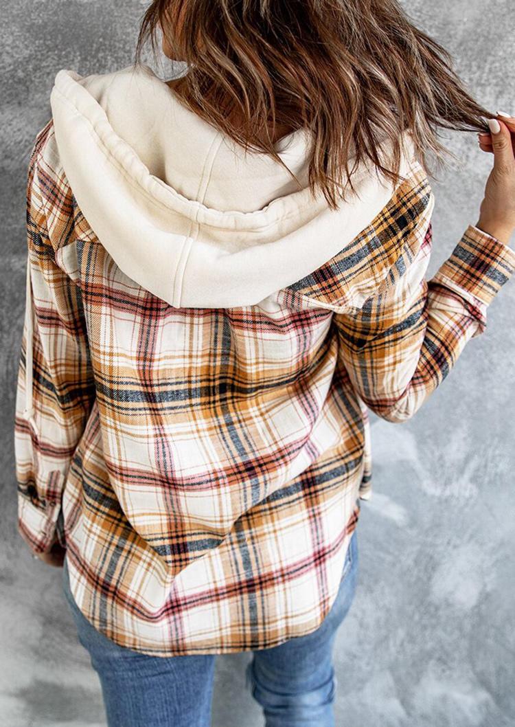 Plaid Drawstring Button Shirt Hooded Coat