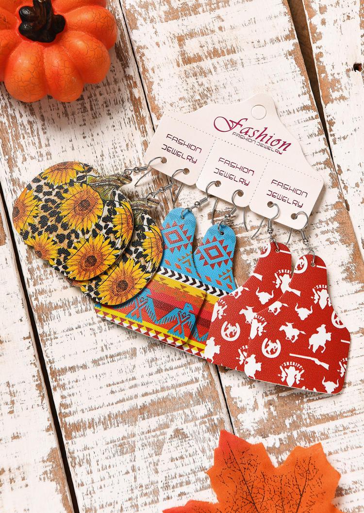 3 Pairs/Set Pumpkin Sunflower Leopard Leather Earring Set
