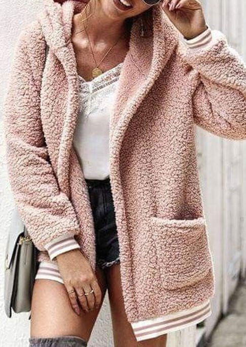 Fuzzy Pocket LongSleeve Hooded Coat - Pink