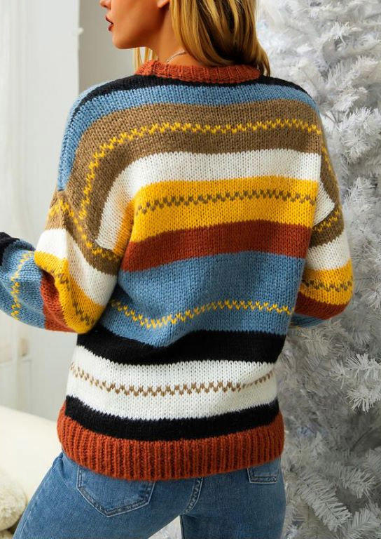 Striped Color Block Knitted Sweater